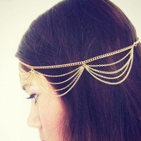Min. order is $9 (can mix style) Fashion aesthetic personality tassel chain multi-layer hair band hair band