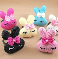 Min. order is $9 (can mix style) casual rabbit bow knitted yarn hair rope TS047