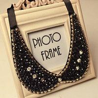 high quality 2013 korean style design new arrival black beads ribbon false collar necklace for women length 45cm