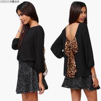 Smss autumn new arrival chiffon leopard print loose racerback wrist-length sleeve chiffon shirt sexy women's top