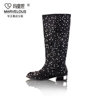 2013 autumn and wnter new arrival women's fashion luxury genuine leather handmade diamond crystal  high-leg boots shoes Y451