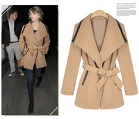 Korean  Women's fall winter woolen coat Bow Belt Big collar jacket Outerwear 69