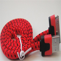 3M 10FT Braided Woven Fabric Data Sync Charger Noodle Flat Cable for iPhone4 /4s