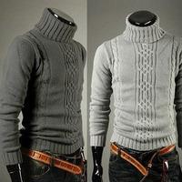 2014 winter Irregular sweater thickening men's knitted cardigan turtleneck knitwear men Free Shipping M-XLsize gray sweaters