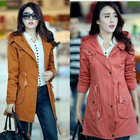 2013 casual fashion preppy style female autumn and winter outerwear trench medium-long plus size mm women's young girl