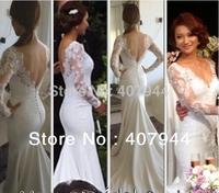 White Satin Lace Appliques Mermaid long sleeves Buttons Wedding Dresses Sheer V-neck Backless Long Train 2015 vestido de noiva
