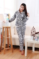 Cute cartoon female thick coral velvet dots buck hooded tracksuit suit