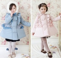 2013 New Winter cotton Girls Children's outwear Kids clothes Baby fashion lovely thick coat lovely girl coat