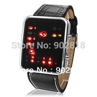 Fashion LED Binary System Display PU Band  Lover's Men Women Wrist Watch Clock Hours Black