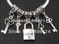 200pcs Mixed Antique Silver Love Lock Key Charms Dangle Beads Fit European Bracelets DIY