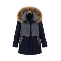 Women's autumn winter thick raccoon fur collar wool coat long wadded jacket 66