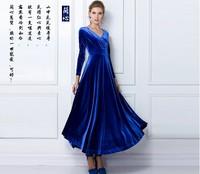 2014 Hot Sale Women's Long Sleeve V Neck Ball Gown Maxi Dress Women Vintage Gorgeous Long Dress Velvet Stretchy + Free Shipping