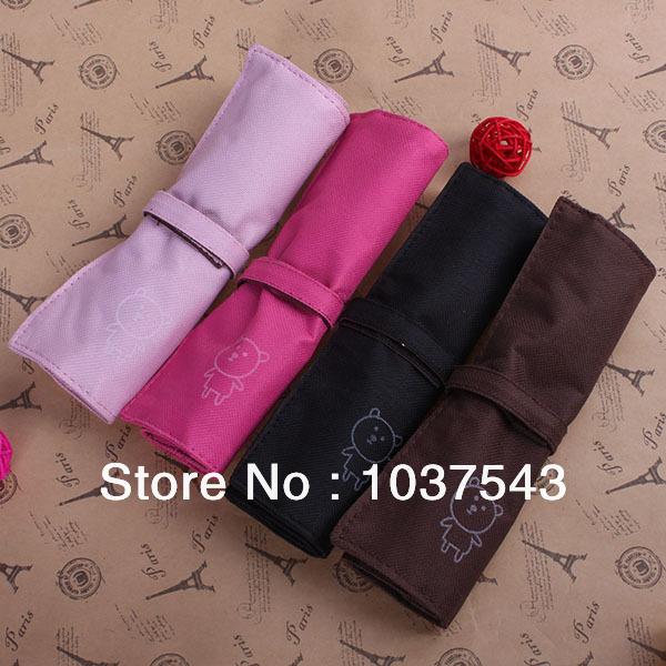 4 Colors Pupil Pen Case Kawaii Design Canvas Roll-Up Pencil Pouch Bag Holder Storage(China (Mainland))