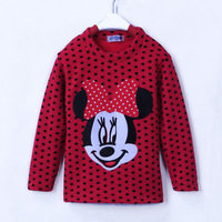Children's clothing autumn and winter female child long-sleeve t-shirt plus velvet thickening thermal basic shirt polka dot