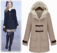 Women's  fall winter clothes woolen double-breasted hooded coat long jacket 64