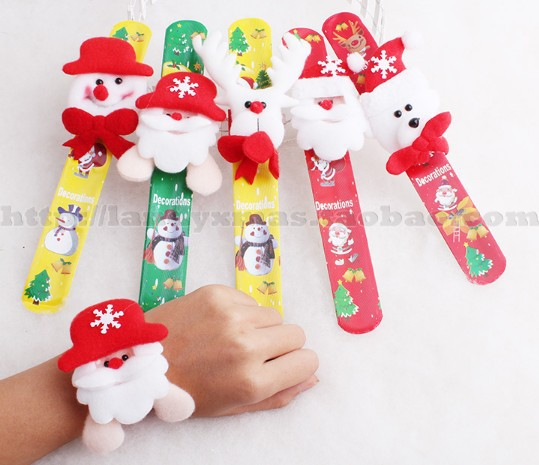 Christmas Decorations Santa Claus Plastic Wrist Band Toys 2013 for Kids Free Shipping(China (Mainland))