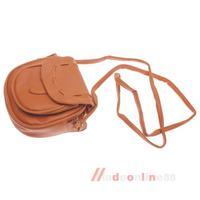 Women PU Leather Vintage Handbag Tote Shoulder Crossbody Bag Purse Brown #T1K M3