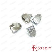 (10518)Flat Wax Leather Ribbon Cord End Fastener Clasps Crimp Beads Width:6MM Imitation Rhodium Iron Snakeheads Clasps 100PCS