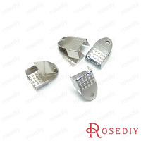 (10518)Flat Wax Leather Ribbon Cord End Fastener Clasps Crimp Beads Width:6MM Imitation Rhodium Iron Snakeheads Clasps 100PCS
