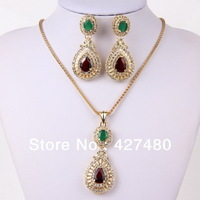 Free shipping wholesale Gold Plated  New Designer 2pcs trendy Women Pendant Necklace Sets With crystal Jewelry Sets
