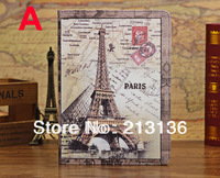 50pc High quality Retro England big ben london bridge eiffel tower ferris wheel leather PU case pouch For iPad5 iPad Air instock