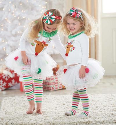 2014 new Christmas 2pc/set vestidos de menina vestir childrens suit kids clothing baby girls dress cotton white dress New Year(China (Mainland))