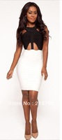 DHL free shipping in stock Top Quality 2013  'HANNAH' BLACK & WHITE CUT OUT CRYSTAL BANDAGE DRESS