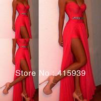 Free Shipping Red Side Split Chiffon Long Formal Events Dress Evening Dress 2014 WL254