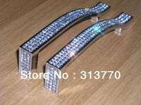 128mm chrome color Free shipping K9 crystal glass Cabinets Knobs Handles Dresser Drawer Pulls Furniture Handle