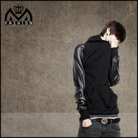 High quality pullover sweatshirt male personalized leather patchwork british style with a hood long-sleeve men's clothing