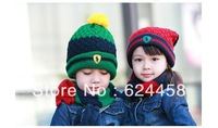 Free shipping 2013 new autumn winter color-checked Children's knitting hat baby ear protection hat children accessories MZ0544