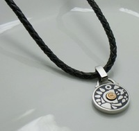High qualty Black genuine leather necklaces with 316L stainless steel flower pattern pendants