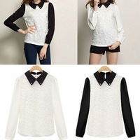Womens Girls Doll Color Long Sleeve Lace Chiffon Blouse Tops Base Shirt 76902-76907