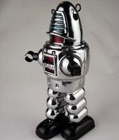 Retro Handmade Tin Clockwork Collectibles Toy- 9'' Mechanical Planet Robot dh331