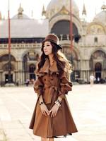 Fashion women's retro British style casual coat Slim Bow windbreaker Coat Jacket 60