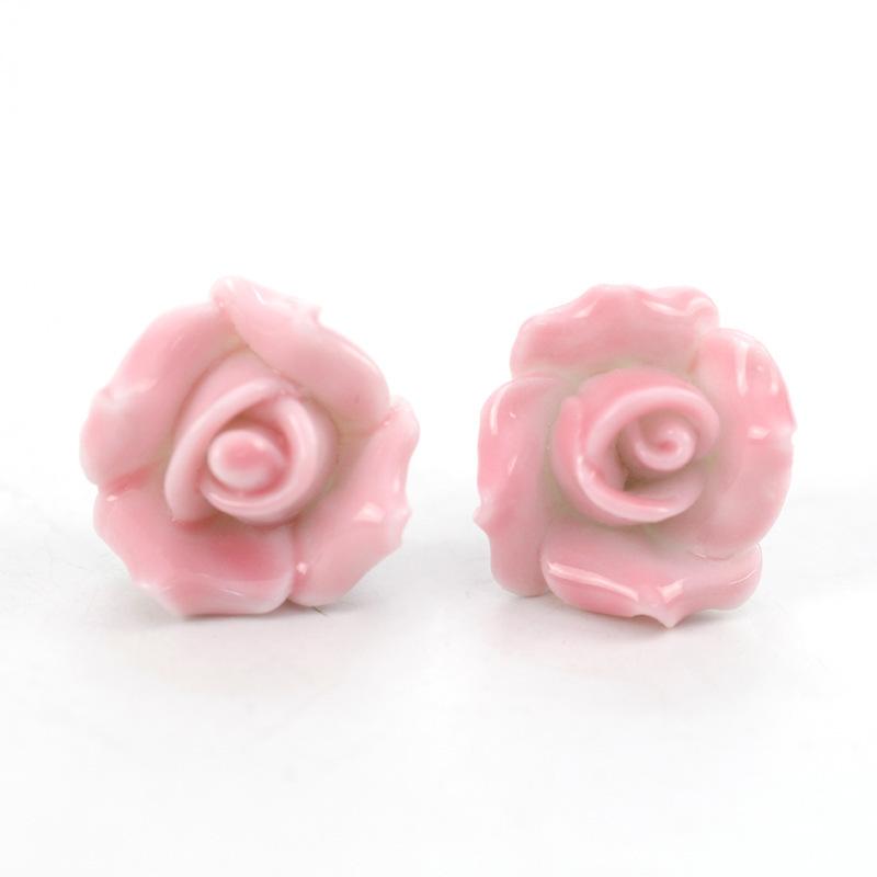 Fashion Hot Sale Newly Romantic Rose Bright Ethnic Porcelain Jewelry Peony Hollow Elegant Women Ceramic Earring E1746(China (Mainland))