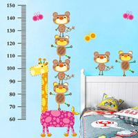 Kids Wall Stickers Bear Height Stickers Fashion Animal Acrobatics Series Giraffe Wall Stickers Room Decor Kids Room