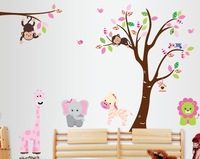 Free Shipping DIY Home Decal 2pcs/set Animal Monkey Trees Large Wall Stickers for Living Room
