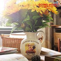 Country kitchen vintage pattern vase lip water bottle