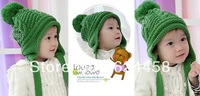 Free shipping 2013 new autumn winter double ball Children's knitting hat baby ear protection hat children accessories MZ0994