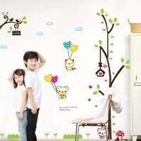 1 Set Cartoon Cute Bear Tree Wall Sticker Kids Height Chart Growth Up Measure Wall Decal Stickers Boys Girls Decoration
