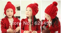 Free shipping 2013 new autumn winter double ball Children's knitting hat baby ear protection hat children accessories MZ0973