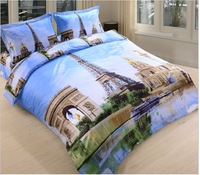 Eiffel Tower printed 4pcs bedding sets.cotton 3d bedclothes.bed linens/bed sheet/duvet cover set/textile/bed sets+free shipping