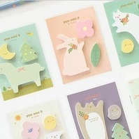 Cute Cartoon Animal Cat Rabbit Sticky Memo New Sticky Notepad  Memo pad Stationery Wholesale-Gift 100pcs/lot free shipping