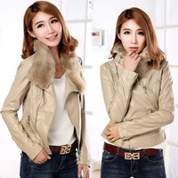 Free shipping new 2013 autumn and winter fashion women khaki fur collar leather jacket women's streetwear 1293780738