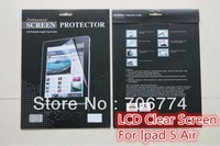 For ipad5 ipad 5 ipad AIR Clear LCD Screen Protector protective film with Package  20pcs/lot