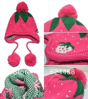Free shipping 2013 new autumn winter double ball Children's knitting hat baby ear protection hat children accessories MZ1082