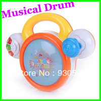 Children's Educational Toys Joy Clap Drummer Beat With Light Music electric rotating musical Flash Handle Drum ChildrenHood