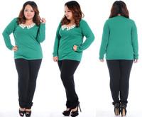 S1054 Discount Fat women Big Plus size Long Sleeve O-neck Tee T Shirt Ladies Crochet Pattern Slim Top Blouse XL XXL XXXL 4XL