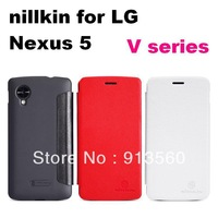 Free shipping 5pcs original nillkin case for  LG Nexus 5  High quality V series Flip Leather Case+ retail box